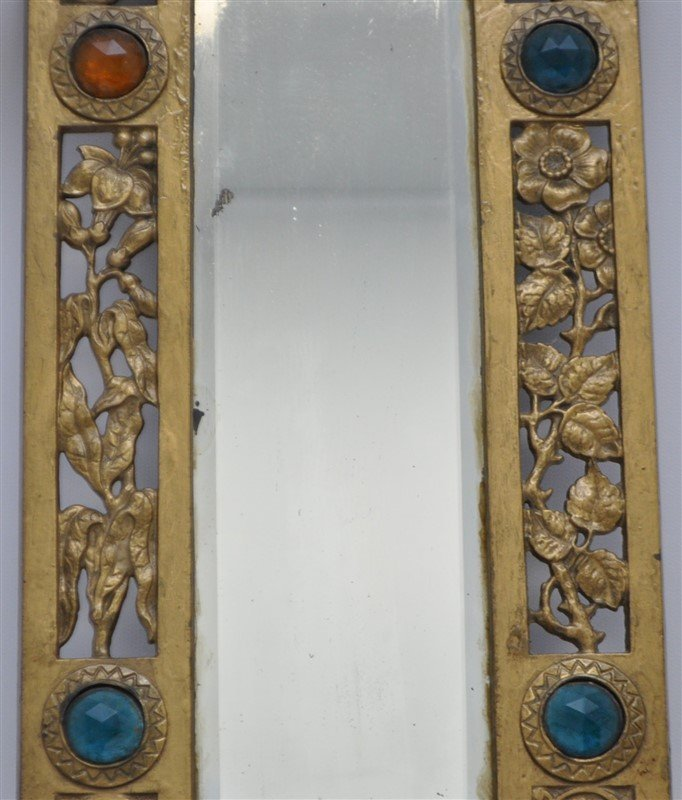 JEWELED BRASS TWO ARM WALL SCONCE MIRROR - 3