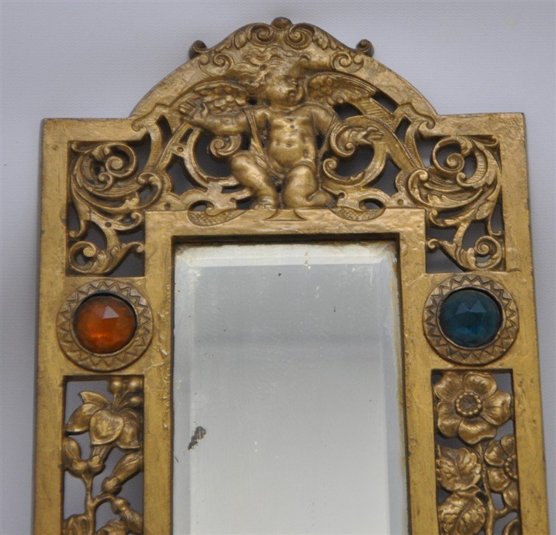 JEWELED BRASS TWO ARM WALL SCONCE MIRROR - 4
