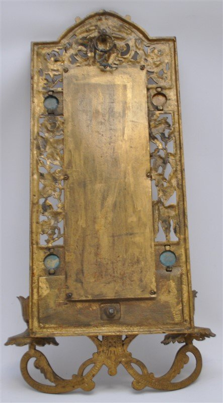 JEWELED BRASS TWO ARM WALL SCONCE MIRROR - 6