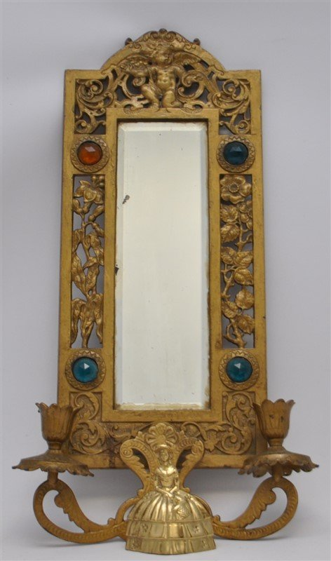JEWELED BRASS TWO ARM WALL SCONCE MIRROR - 7
