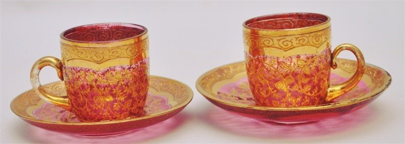 2 19TH c. BOHEMIAN GILDED GLASS CUPS & SAUCERS
