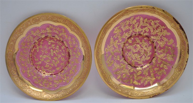 2 19TH c. BOHEMIAN GILDED GLASS CUPS & SAUCERS - 2