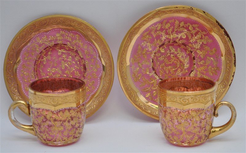 2 19TH c. BOHEMIAN GILDED GLASS CUPS & SAUCERS - 3