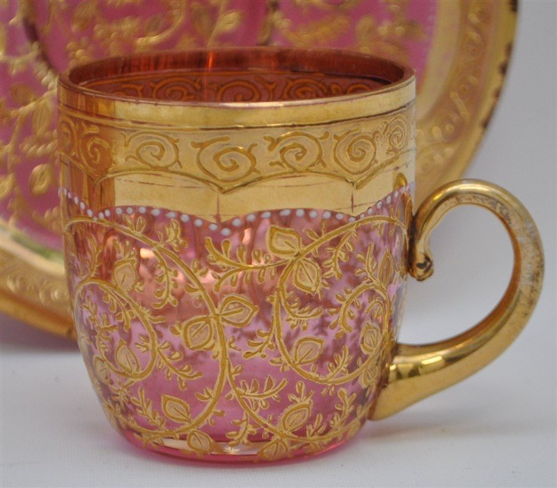 2 19TH c. BOHEMIAN GILDED GLASS CUPS & SAUCERS - 4