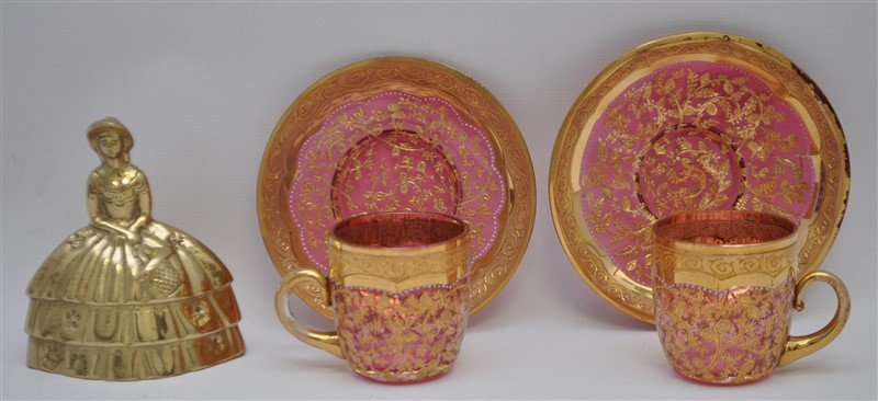 2 19TH c. BOHEMIAN GILDED GLASS CUPS & SAUCERS - 5