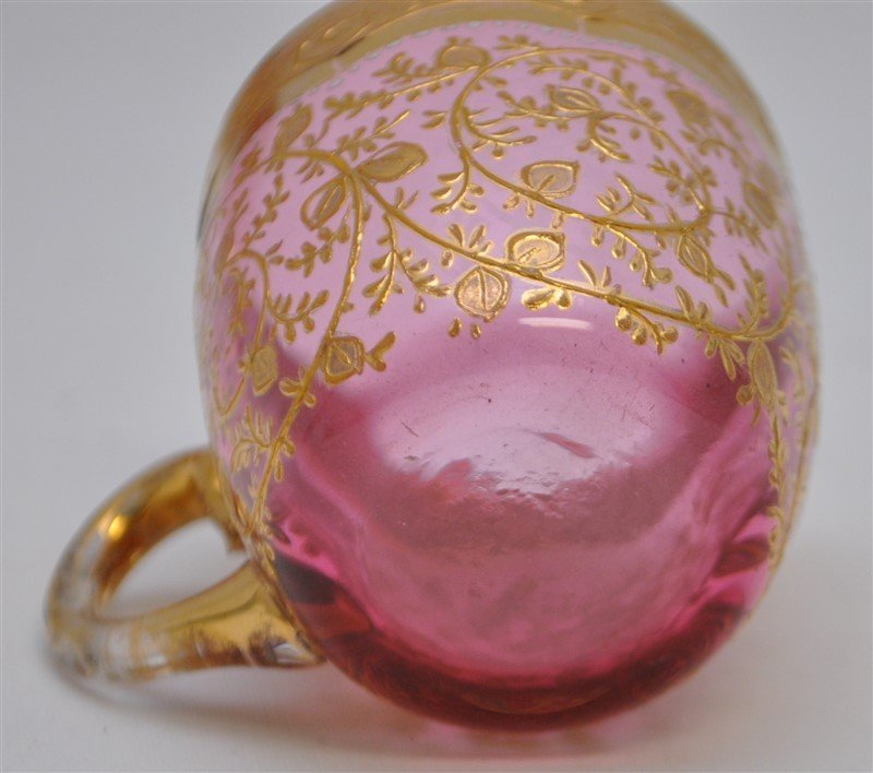 2 19TH c. BOHEMIAN GILDED GLASS CUPS & SAUCERS - 6