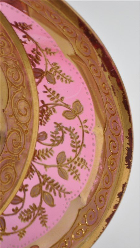 2 19TH c. BOHEMIAN GILDED GLASS CUPS & SAUCERS - 7