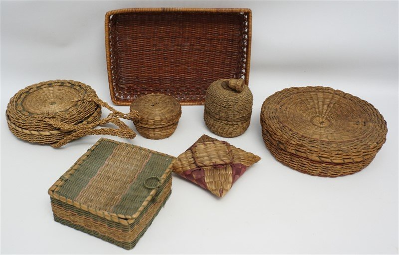 7 ANTIQUE BASKETS - SPLINT - WICKER