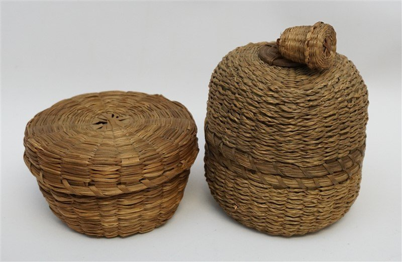 7 ANTIQUE BASKETS - SPLINT - WICKER - 5