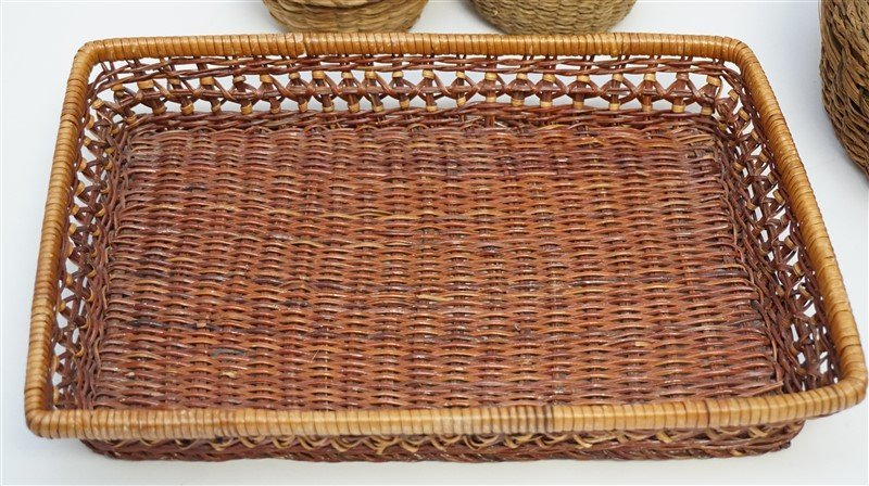 7 ANTIQUE BASKETS - SPLINT - WICKER - 6