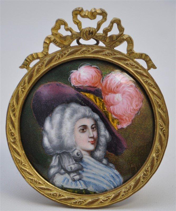 19TH C. FRENCH ENAMEL PORTRAIT MINIATURE