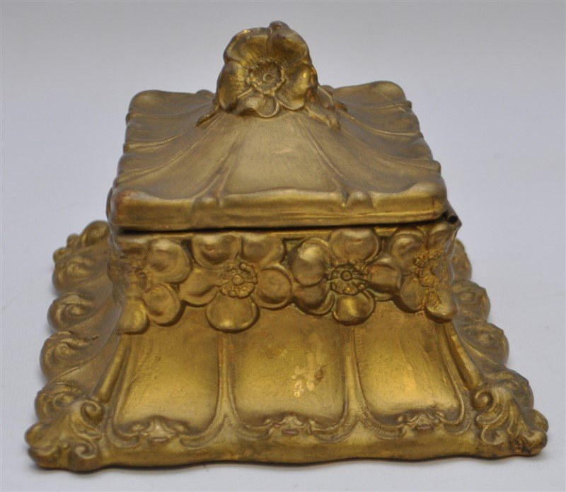 ART NOUVEAU GILDED BRONZE JEWELRY BOX - 4