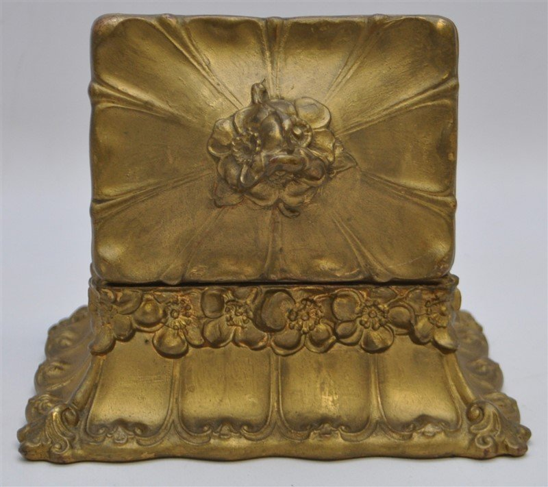 ART NOUVEAU GILDED BRONZE JEWELRY BOX - 5