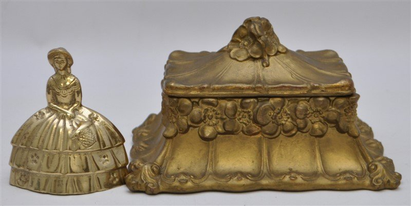 ART NOUVEAU GILDED BRONZE JEWELRY BOX - 7