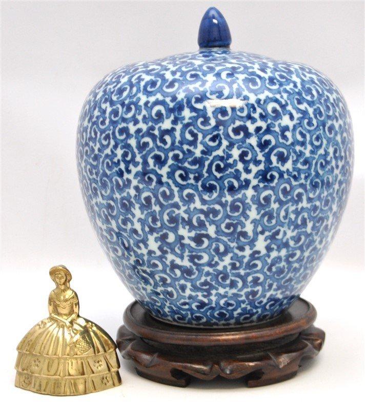 CHINESE EXPORT BLUE & WHITE GINGER JAR - 7