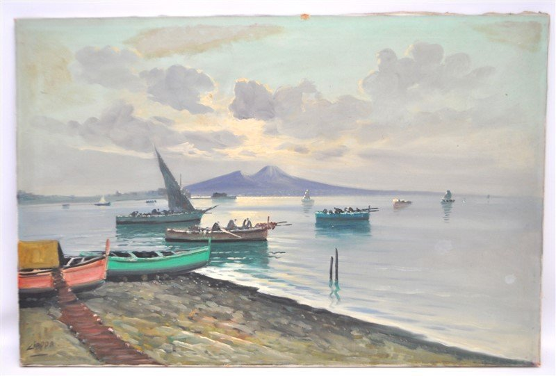BAY OF NAPLES & FISHING BOATS OIL CIAPPA