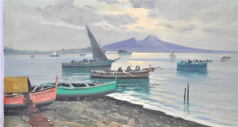 BAY OF NAPLES & FISHING BOATS OIL CIAPPA - 3
