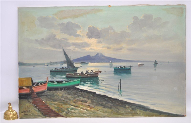 BAY OF NAPLES & FISHING BOATS OIL CIAPPA - 5