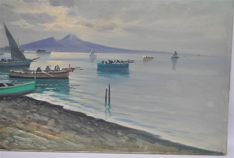 BAY OF NAPLES & FISHING BOATS OIL CIAPPA - 6