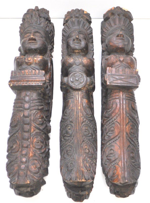 3 CARVED ARCHITECTURAL WALL WINGED GODDESS