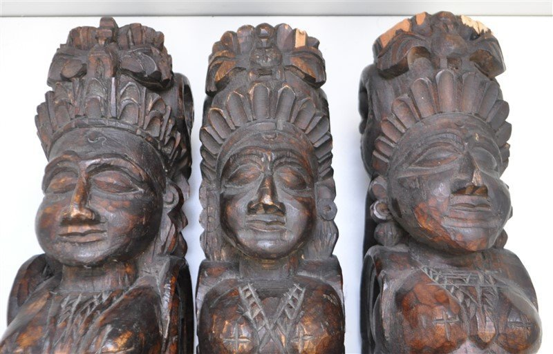 3 CARVED ARCHITECTURAL WALL WINGED GODDESS - 2