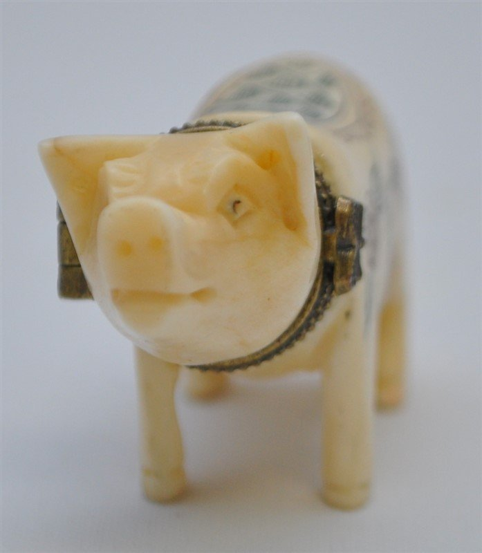 2 pc. CARVED PIG SNUFF & FOO SEAL W CASE - 3