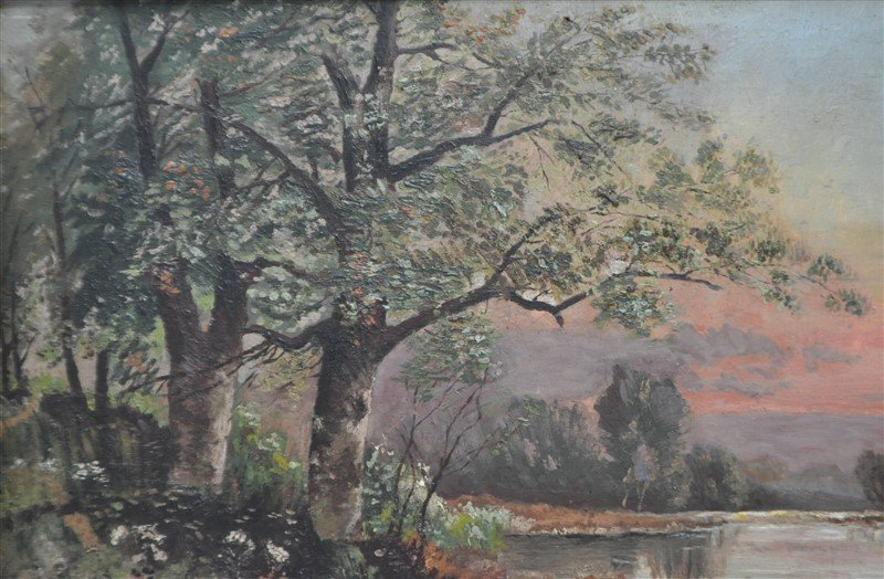 FRENCH OIL ON BOARD L. BOIVIN - LAKE SUNSET - 4
