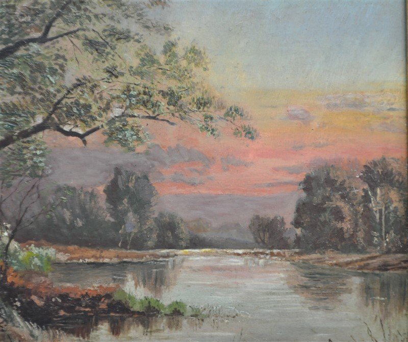 FRENCH OIL ON BOARD L. BOIVIN - LAKE SUNSET - 5