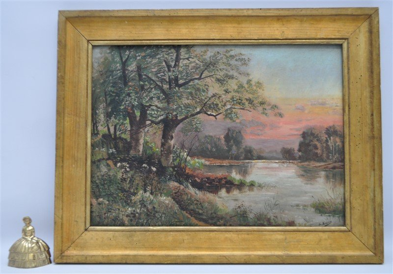 FRENCH OIL ON BOARD L. BOIVIN - LAKE SUNSET - 7