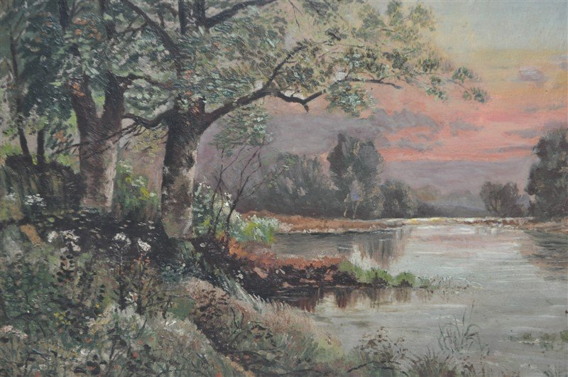 FRENCH OIL ON BOARD L. BOIVIN - LAKE SUNSET - 8