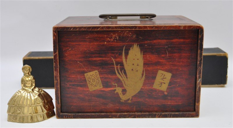 VINTAGE MAHJONG SET IN ORIGINAL WOOD BOX - 9