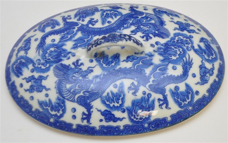 CHINESE EXPORT BLUE & WHITE COVERED TUREEN - 7