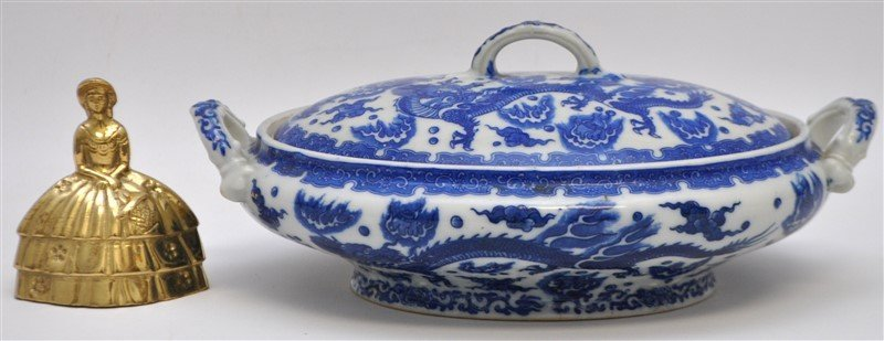CHINESE EXPORT BLUE & WHITE COVERED TUREEN - 9
