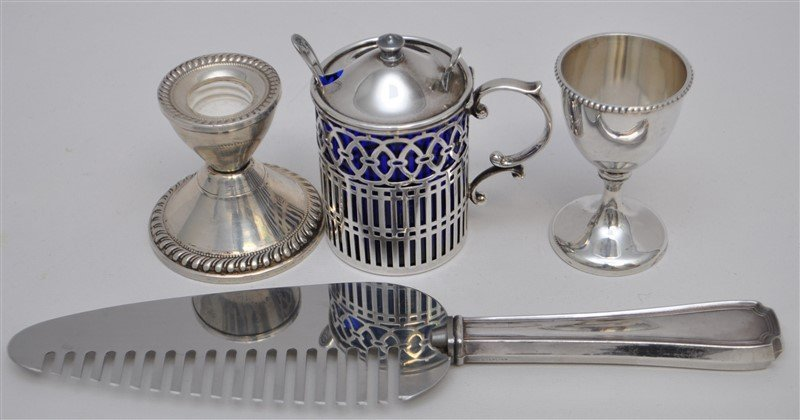 4 STERLING SILVER MUSTARD POT - CAKE COMB +