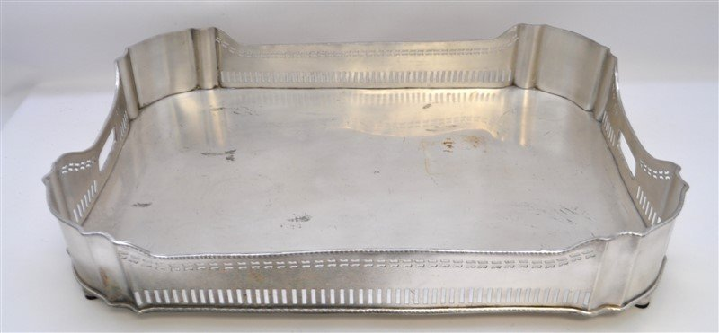 LARGE SILVER PLATE GALLERY TRAY