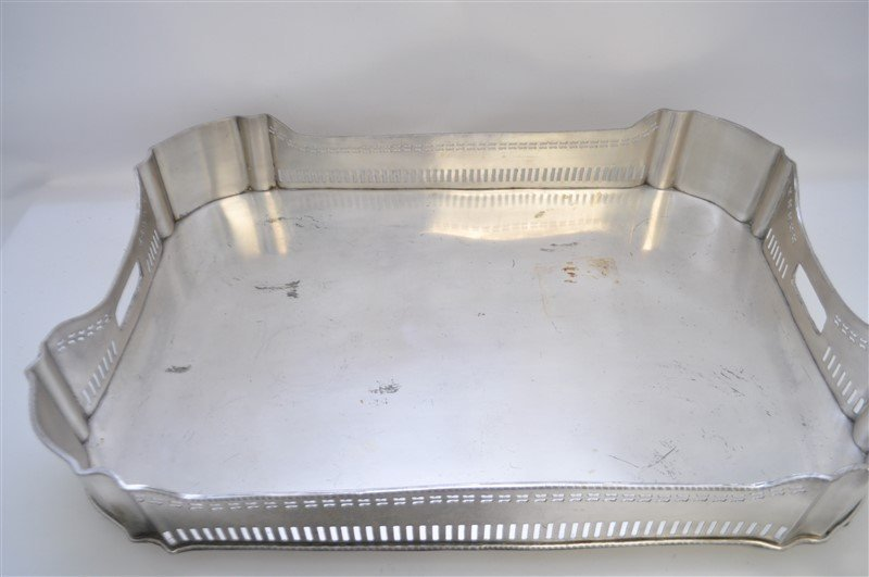 LARGE SILVER PLATE GALLERY TRAY - 3