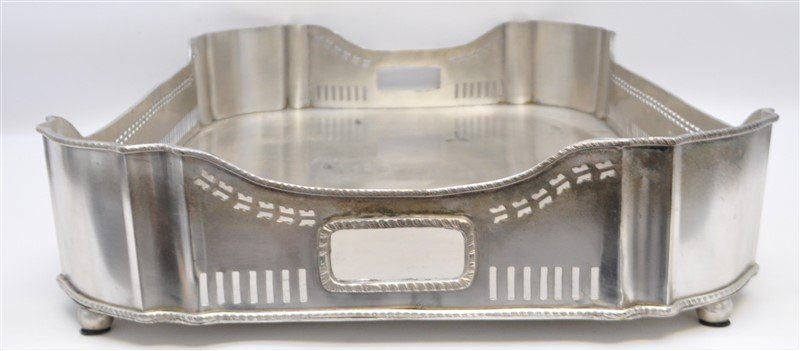LARGE SILVER PLATE GALLERY TRAY - 4