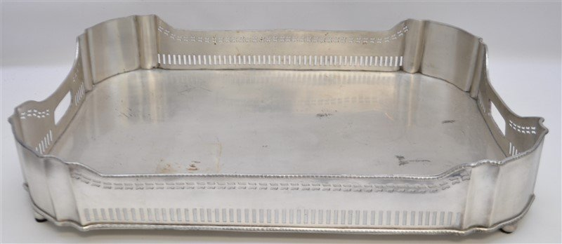 LARGE SILVER PLATE GALLERY TRAY - 5