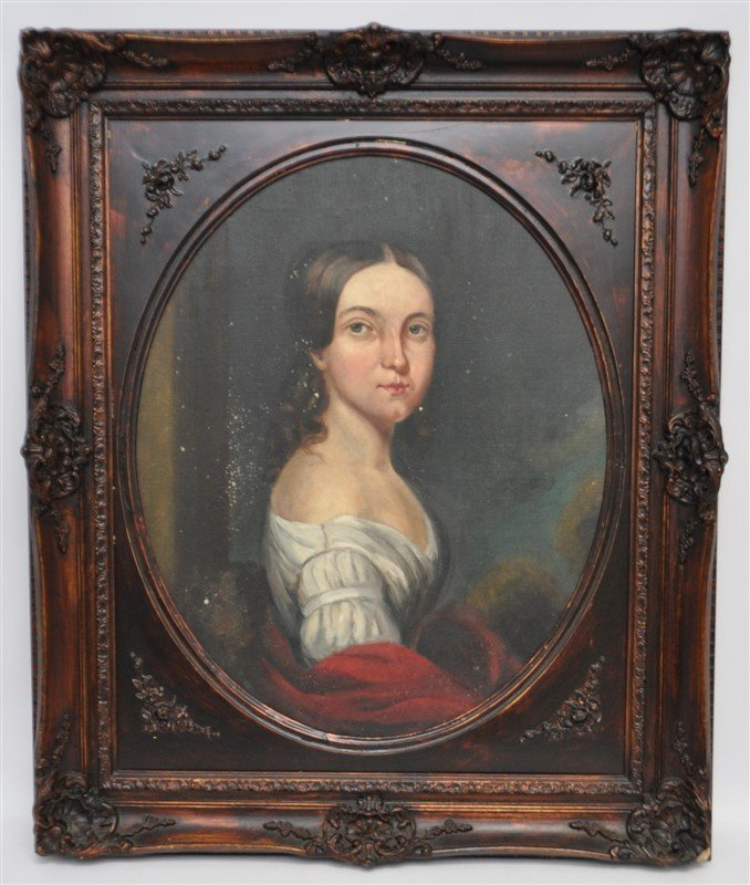 VTG PORTRAIT OF WOMAN IN OVAL FRAME