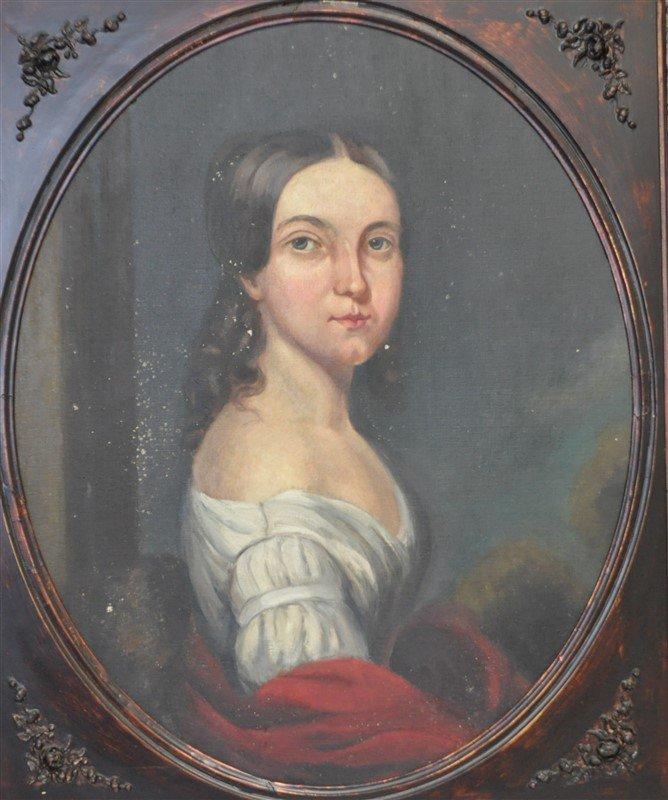 VTG PORTRAIT OF WOMAN IN OVAL FRAME - 2
