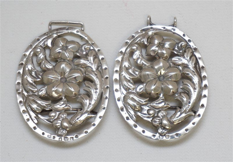 ENGLISH STERLING SILVER 1901 ORNATE BELT BUCKLE