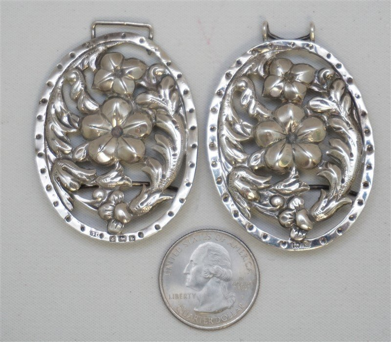 ENGLISH STERLING SILVER 1901 ORNATE BELT BUCKLE - 3