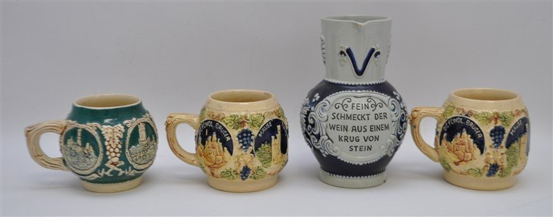 4 PC GERMAN STONEWARE JUG & MUGS