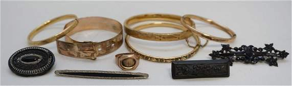 10 pc ANTIQUE VICTORIAN JEWELRY MOURNING +