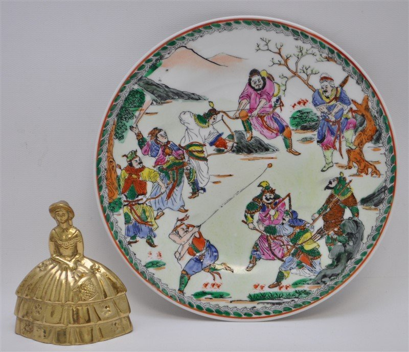 CHINESE EXPORT 9 WARRIORS PLATE - 5