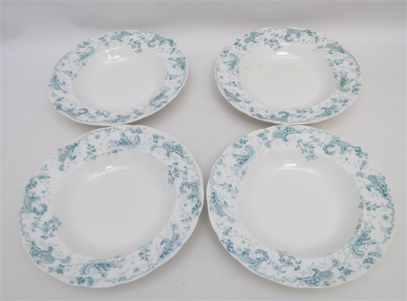 19th c. FLOW BLUE ORLEANS COUPE SOUPS