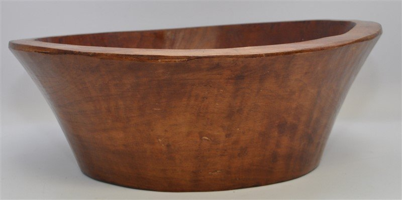 CARVED WOOD BOWL WITH ORCHIDS