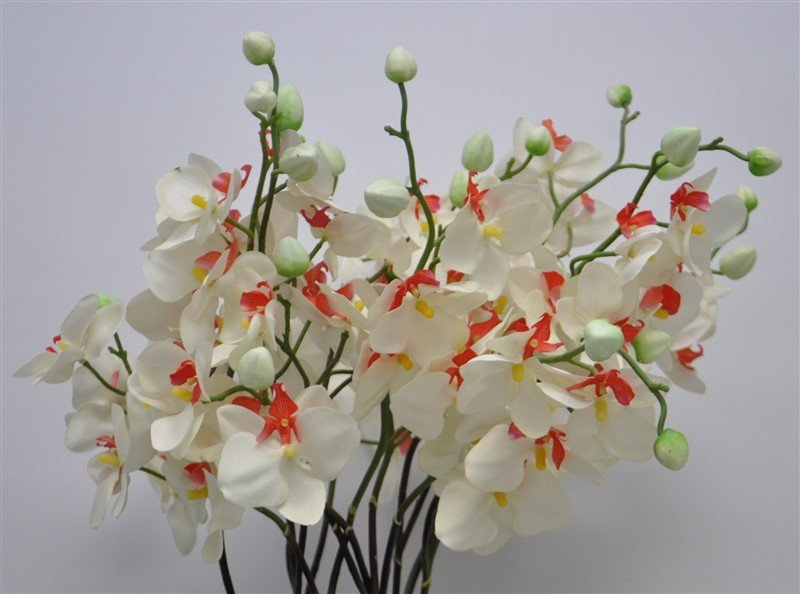 CARVED WOOD BOWL WITH ORCHIDS - 4