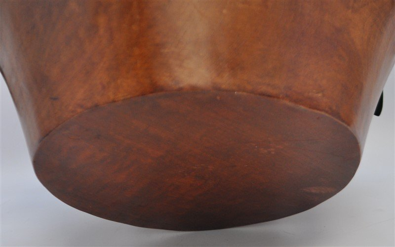 CARVED WOOD BOWL WITH ORCHIDS - 6