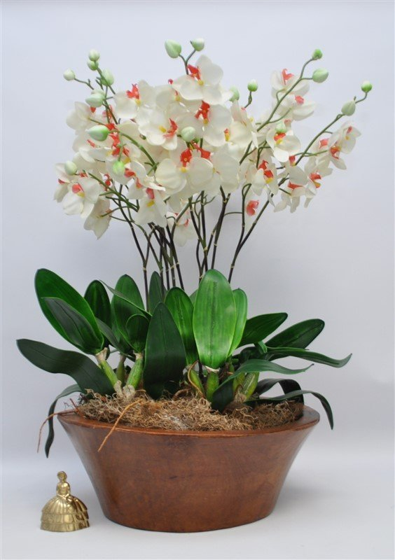 CARVED WOOD BOWL WITH ORCHIDS - 7